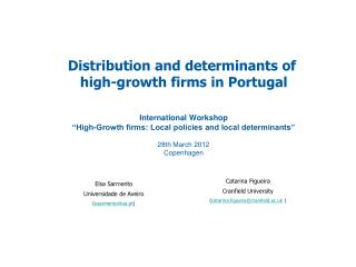 Distribution and determinants of  high-growth firms in Portugal