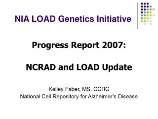 NIA LOAD Genetics Initiative