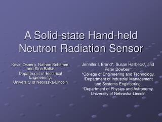 A Solid-state Hand-held Neutron Radiation Sensor