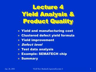 Lecture 4 Yield Analysis & Product Quality