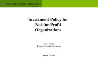 Investment Policy for Not-for-Profit Organizations