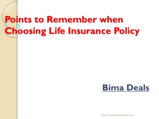 Points to Remember when Choosing Life Insurance Plans