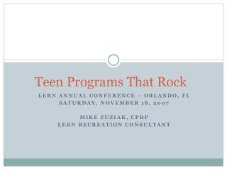 Teen Programs That Rock