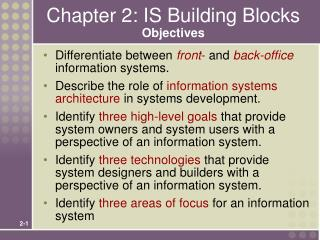 Chapter 2: IS Building Blocks Objectives
