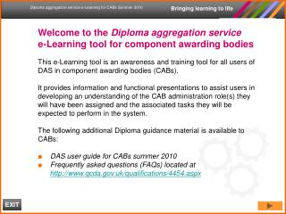 Welcome to the Diploma aggregation service  e-Learning tool for component awarding bodies