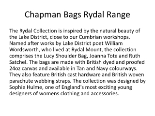 Rydal Range from Chapman Bags
