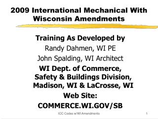 2009 International Mechanical With Wisconsin Amendments