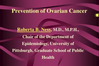Prevention of Ovarian Cancer