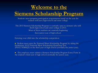 Welcome to the  Siemens Scholarship Program
