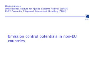Emission control potentials in non-EU countries