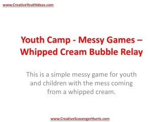 Youth Camp - Messy Games