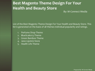 Top Five Magento Theme Design For Your Health and Beauty Sto