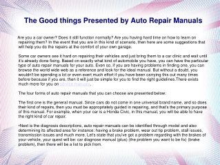 The Good things Presented by Auto Repair Manuals