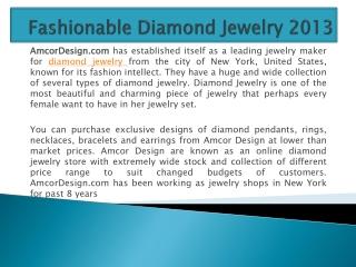 Fashionable Diamond Jewelry 2013