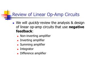 Review of Linear Op-Amp Circuits