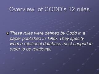 Overview  of CODD's 12 rules