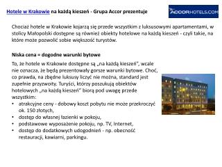 Hotele Kraków