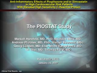 Anti-Inflammatory Effects of Pioglitazone and/or Simvastatin  in High Cardiovascular Risk Patients  With Elevated High S