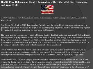 health care reform and tainted journalism - the liberal medi