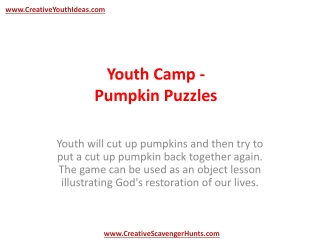 Youth Camp - Pumpkin Puzzles