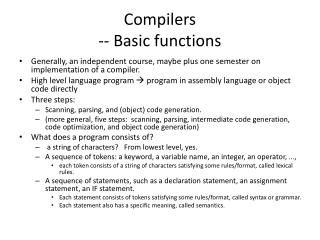 Compilers -- Basic functions