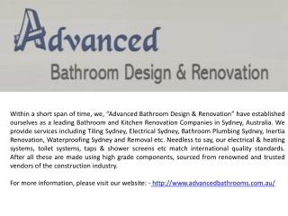 Corporate Profile of Advanced Bathroom