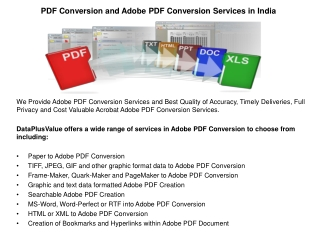 PDF Conversion and Adobe PDF Conversion Services in India