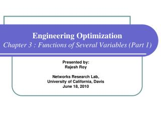 Engineering Optimization Chapter 3 : Functions of Several Variables (Part 1)