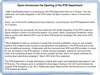 Epom Announces the Opening of the RTB Department
