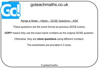 Slide 1 - AQA All About Maths
