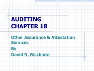 AUDITING CHAPTER 18