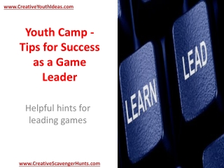 Youth Camp - Tips for Success as a Game Leader