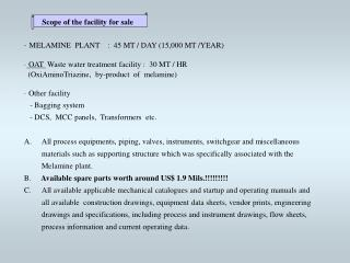 Scope of the facility for sale