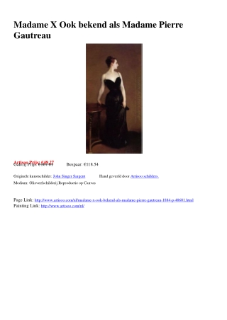 Madame X Ook bekend als Madame Pierre Gautreau - Artisoo.com
