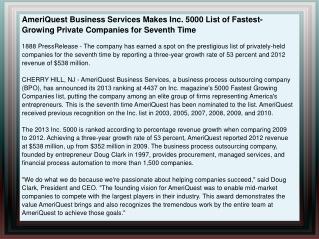 AmeriQuest Business Services Makes Inc. 5000 List of Fastest