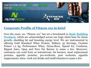 Corporate Profile of Fitness 101 in brief