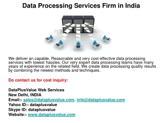 Data Processing Services Firm in India