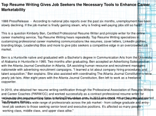 Top Resume Writing Gives Job Seekers the Necessary Tools