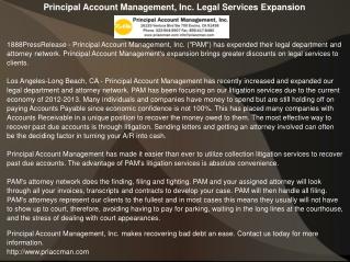 Principal Account Management, Inc. Legal Services Expansion