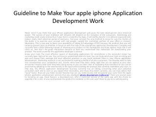 Guideline to Make Your apple iphone Application Development