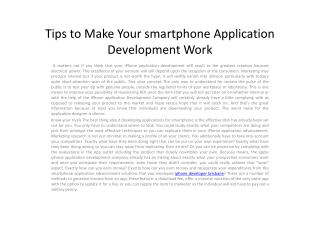 Tips to Make Your smartphone Application Development Work