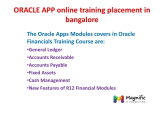 ORACLE APP online training placement in bangalore
