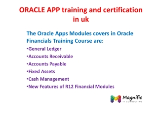 ORACLE APP training and certification in uk