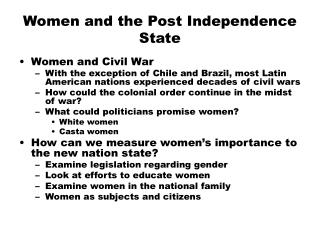 Women and the Post Independence State