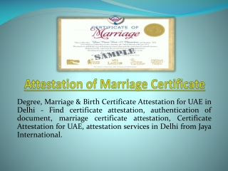 Attestation of Marriage Certificate