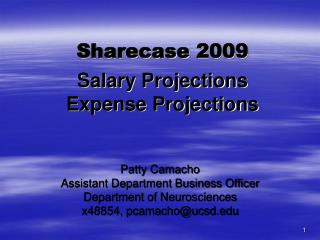 Sharecase  2009 Salary Projections Expense Projections