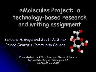 eMolecules Project:  a technology-based research and writing assignment