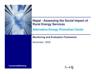 Nepal - Assessing the Social Impact of Rural Energy Services Alternative Energy Promotion Center