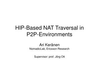 HIP-Based NAT Traversal in P2P-Environments