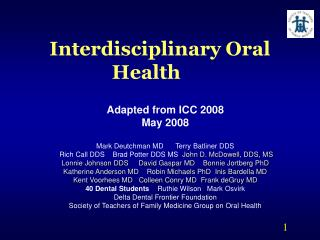 Interdisciplinary Oral Health